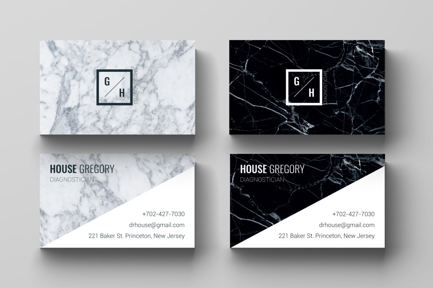 Business Card Template l Marble, Design, Black White, Modern ...