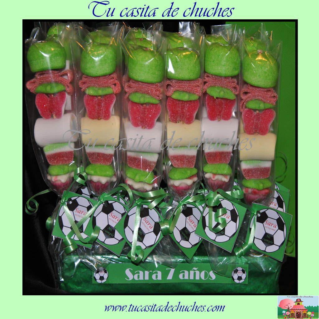 Brocheta para cumplea os de futbol brochetas de chuches - Decoracion chuches para cumpleanos ...