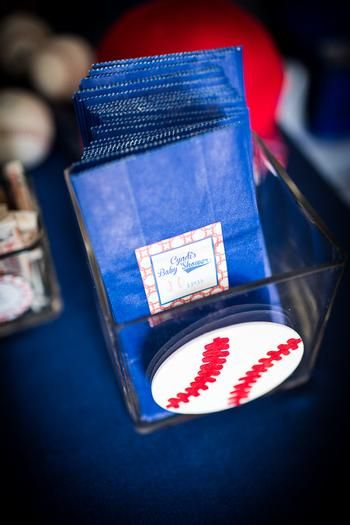 baseball themed baby shower ideas blue treat bags