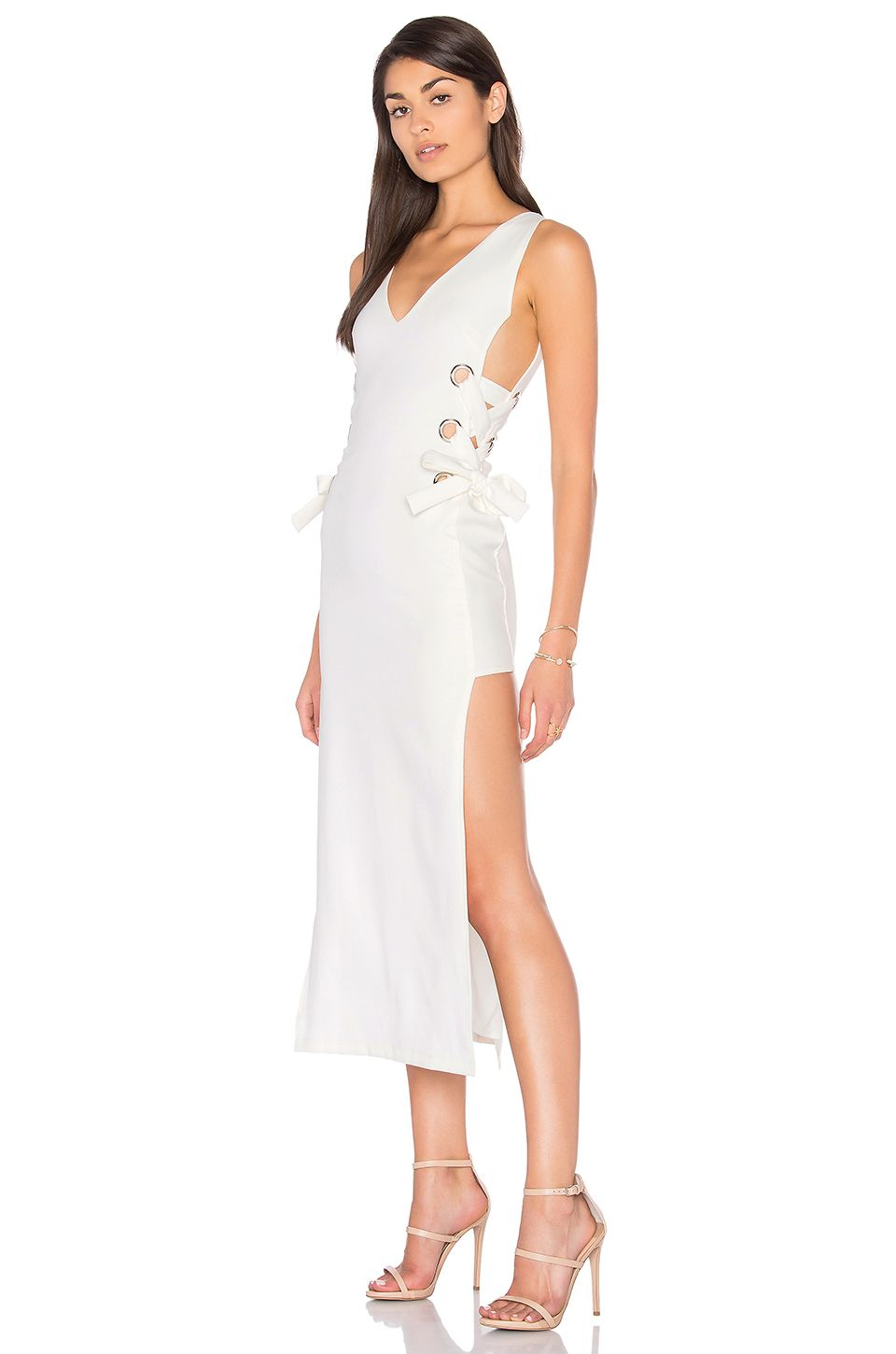 Lioness all tied up russett dress in white revolve a girl can