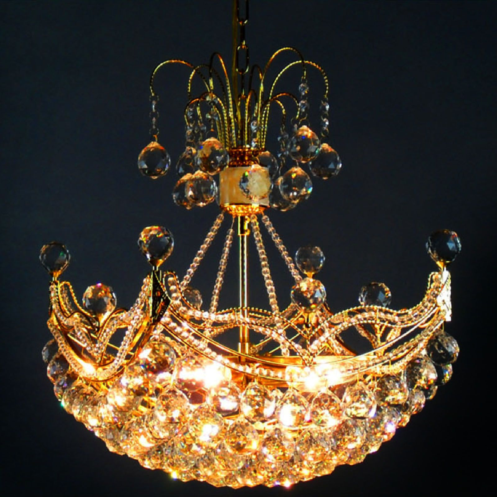 Byb French Empire Crystal Chandelier Chandeliers Lighting Gold H80 X Wd43 6