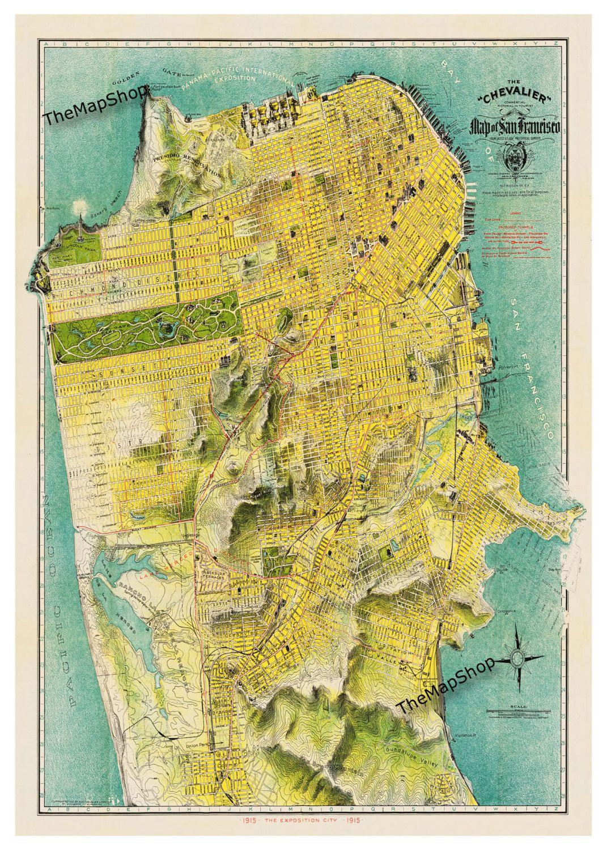1915 San Francisco Street Map 20x30 Print Poster Art I Want