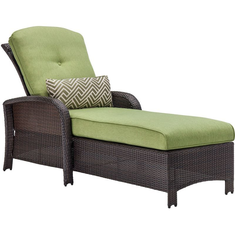 4800f02caa7 Hanover STRATHCHS Cilantro Green Strathmere 85 Inch Long Steel Framed  Polyethylene Wicker Outdoor Chaise Lounge Chair