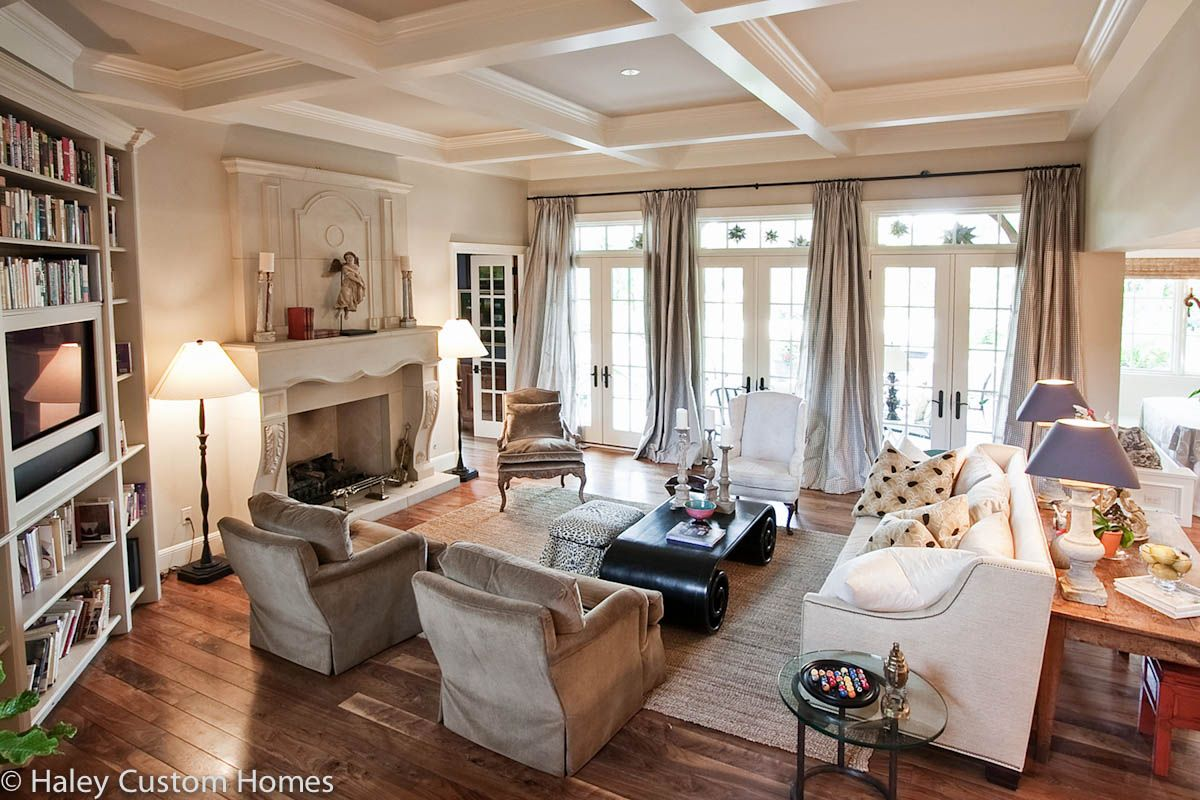 Traditional home county french traditional french for French country family room