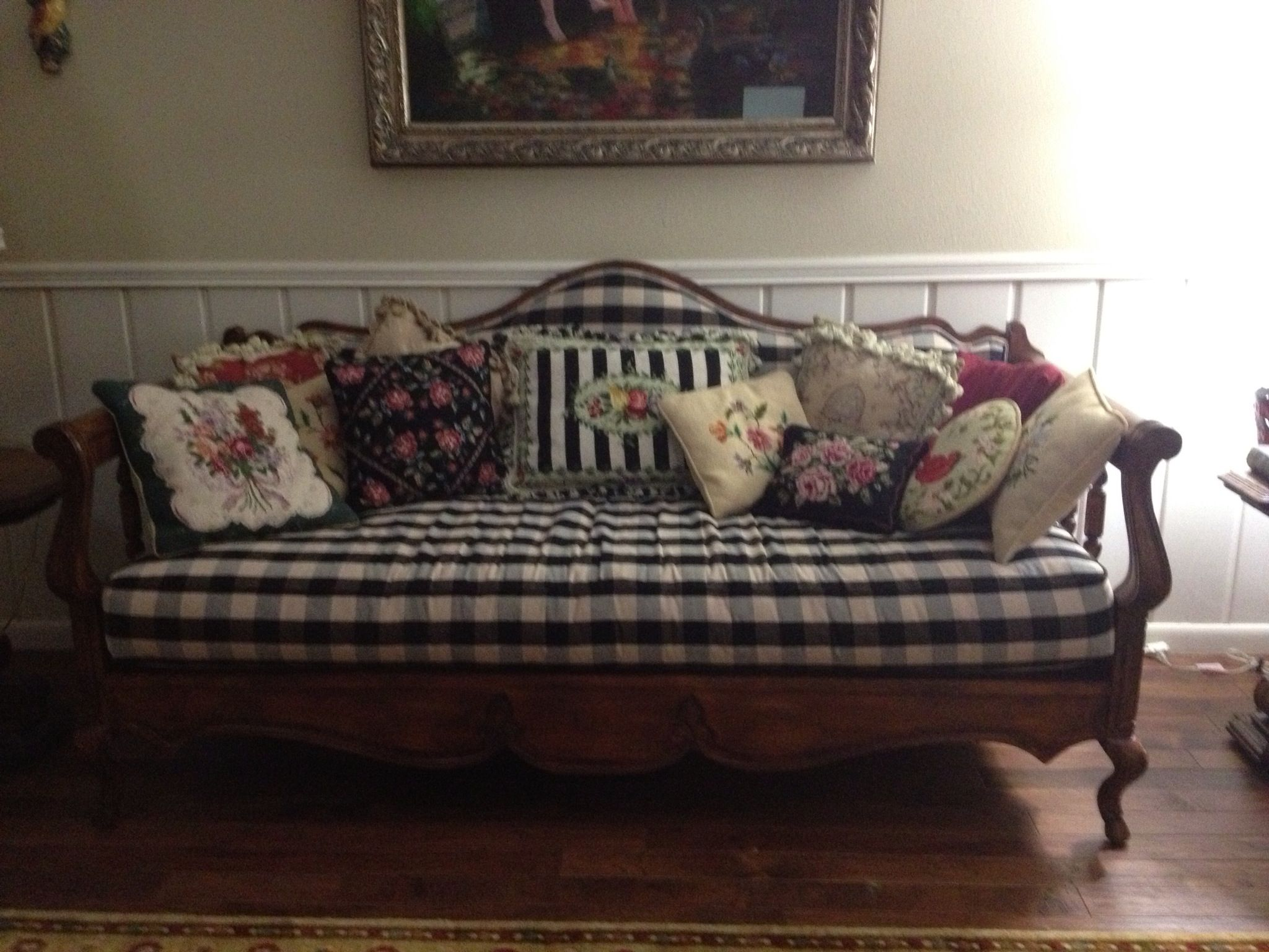 Country French Sofa With Black Buffalo Check Upholstery And Floral