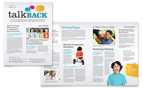 Speech Therapy Education Newsletter Template Design – Newsletter Sample Templates
