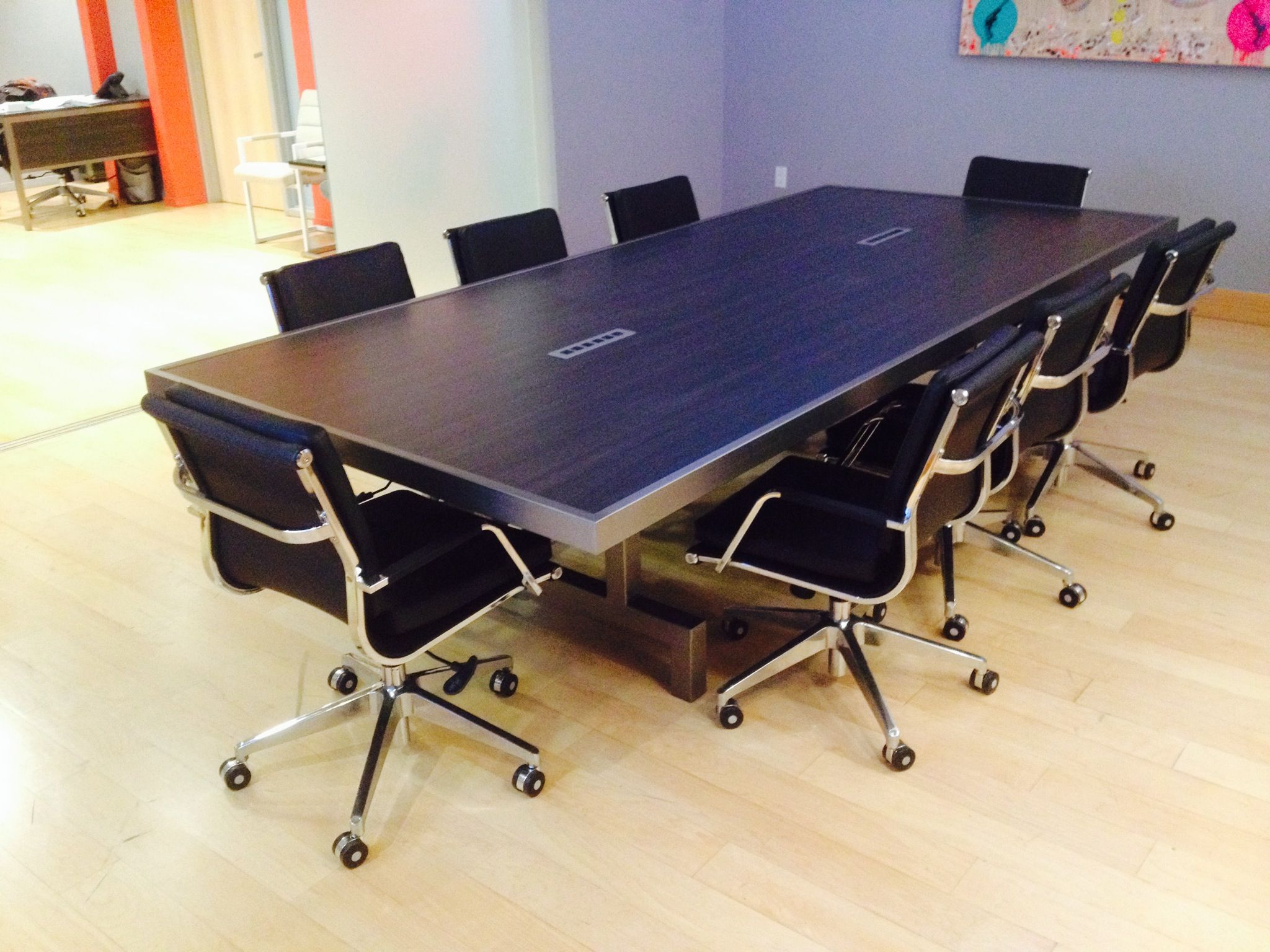 Culver City CA Conference Table with ebony formica top and clear powder coated steel base