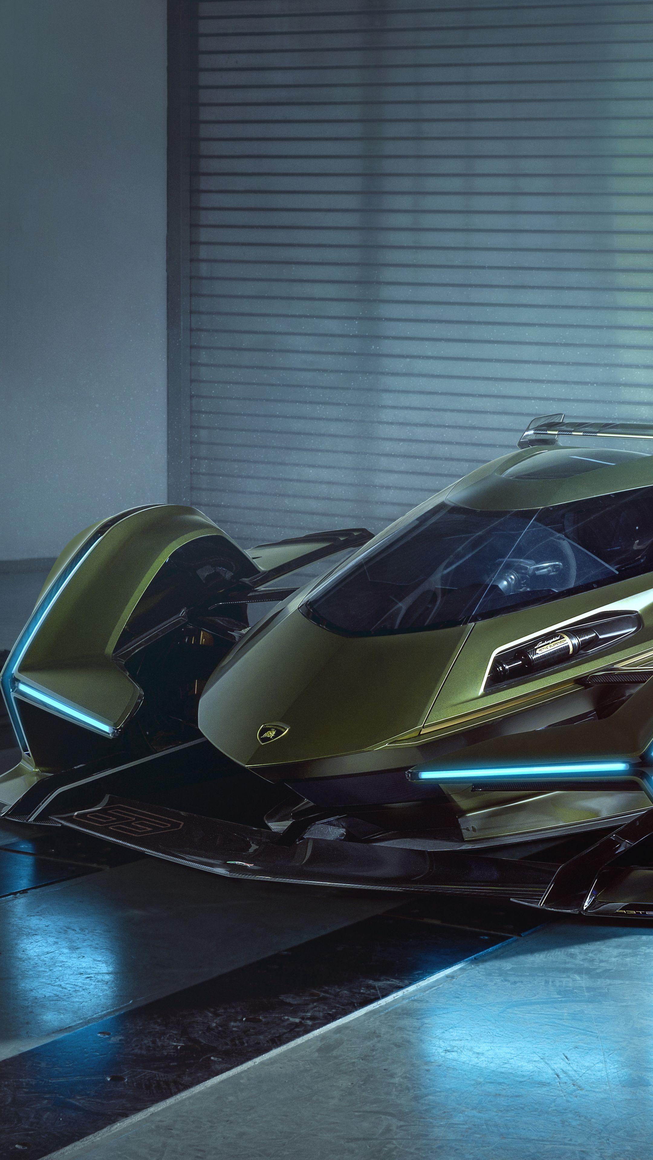2160x3840 Green Car Lamborghini Lambo V12 Vision Gran Turismo