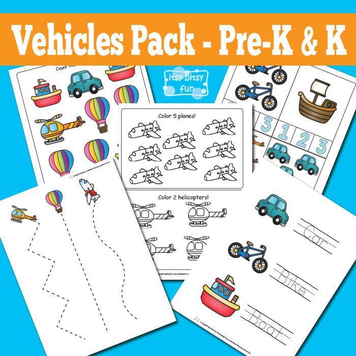 vehicles printable preschool and kindergarten pack prek curriculum packs skola fordon. Black Bedroom Furniture Sets. Home Design Ideas