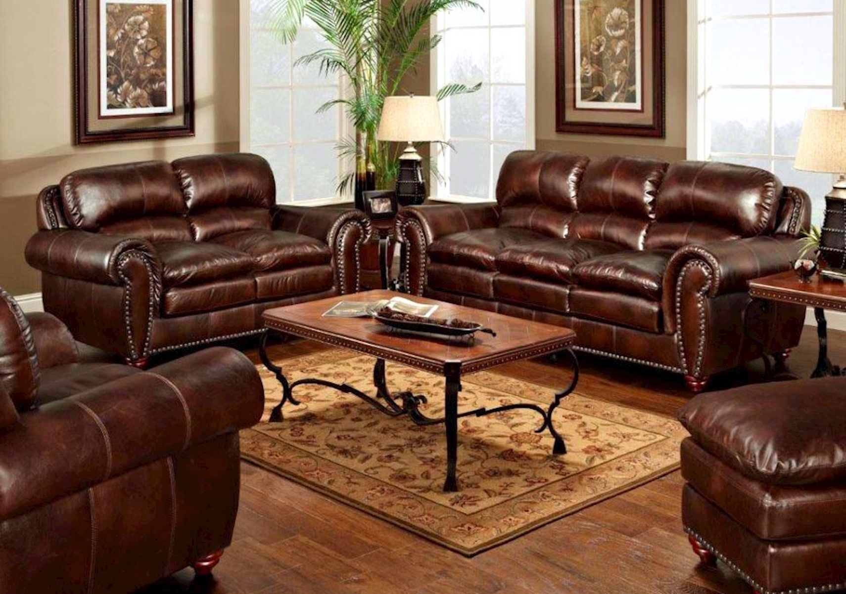 Lacks  Aspen All-Leather 13-Pc Living Room Set  Leather couches