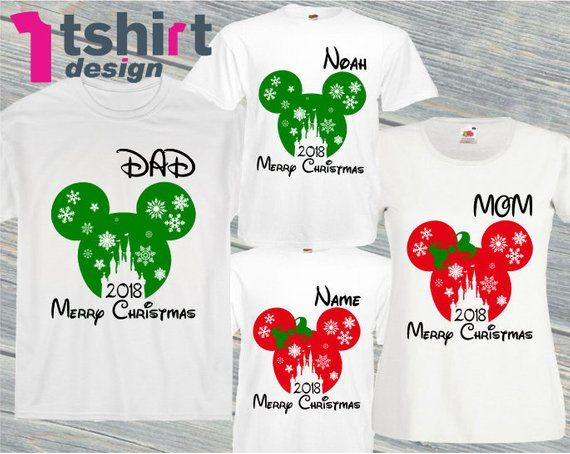 76a1404d Merry Christmas Disney Shirts family Christmas 2019 tees custom Mickey  mouse Minnie mouse Men's Wome