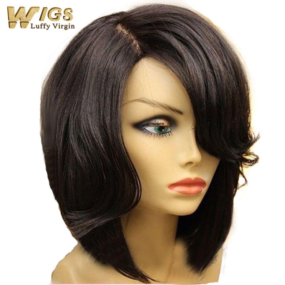 new bob cut style human hair bob lace front wig 130 density