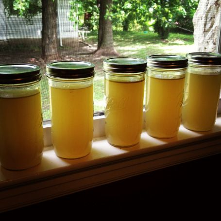 Chicken Broth /Soup in slow cooker - use These are special mason freezing jars.