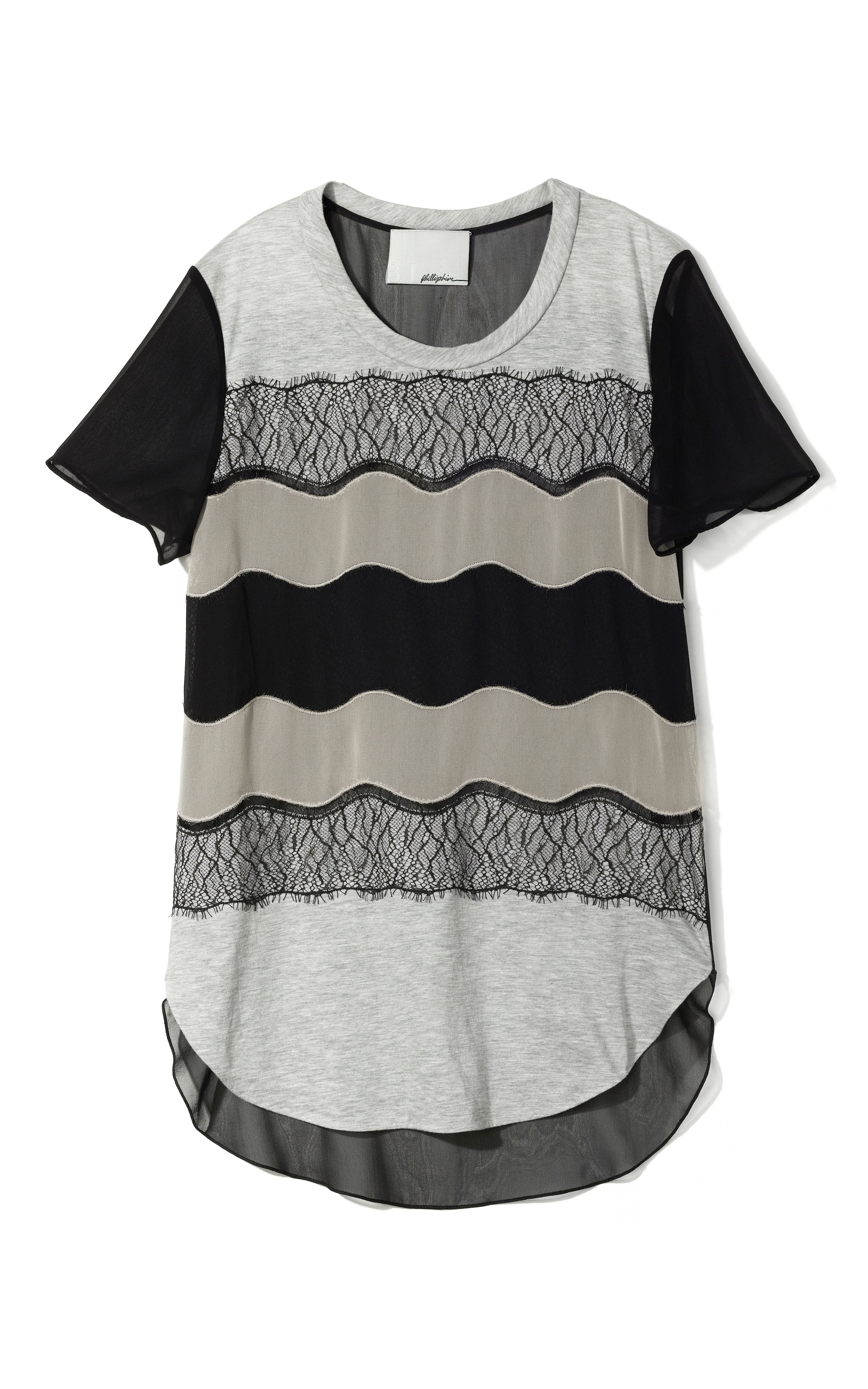 3.1 Phillip Lim Curved Hem Shirt With Lace Applique $395