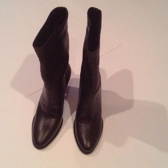 Boots Vince Camuto Signature Orton Standing tall or scrunched down ultra buttery leather with slighted point toe and wooden stacked heel. Size: 9 1/2, 3.5 heel made in Brazil. Brand new in box. Never been used. Vince Camuto Shoes Heeled Boots