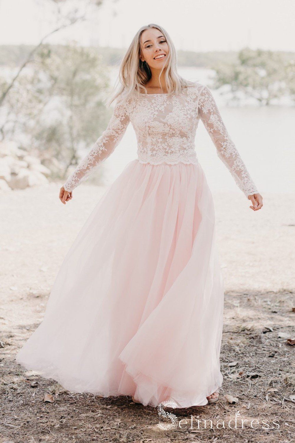 Blushing Pink Two Pieces Country Wedding Dresses Long Sleeve Lace Wedding Dress Sew054 In 2021 Long Sleeve Wedding Dress Lace Long Wedding Dresses Prom Dresses Long With Sleeves [ 1500 x 1000 Pixel ]