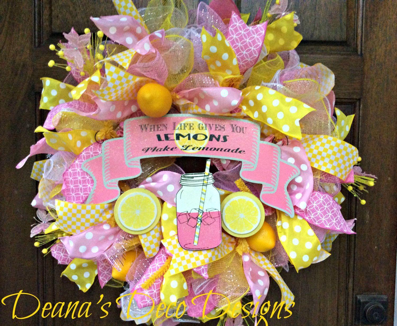 Summer Yellow,Green,/& Pink Flower,Ribbon Lemonade Deco Mesh Welcome Wreath