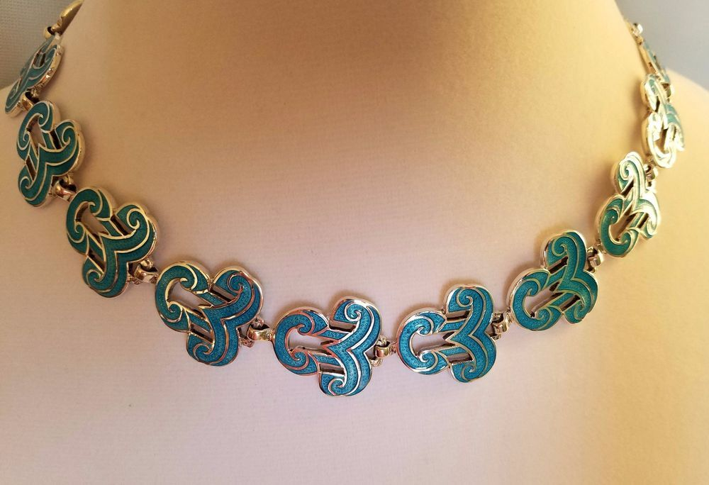 Melesio Rodriguez Margot De Taxco Design Sterling Silver Blue Enamel Necklace #MargotDeTaxco