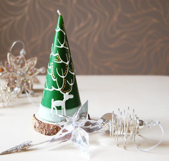 Christmas Candle Hand Painted Green Cone With White Moose - moose christmas decorations
