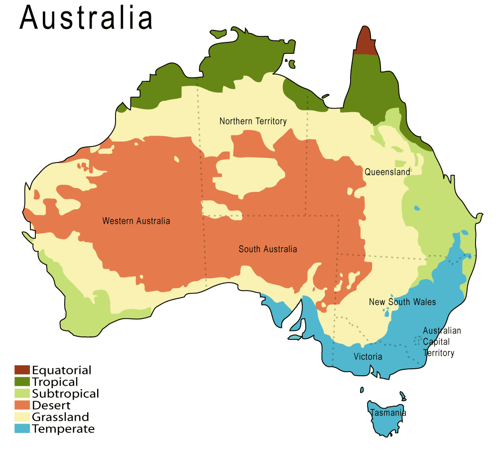Australia Geographical Features Map.Climate Map Of Australia Based On The Koppen Climate Classification
