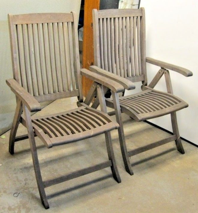 vintage pair of steamer deck chairs teak wood ocean liner ship