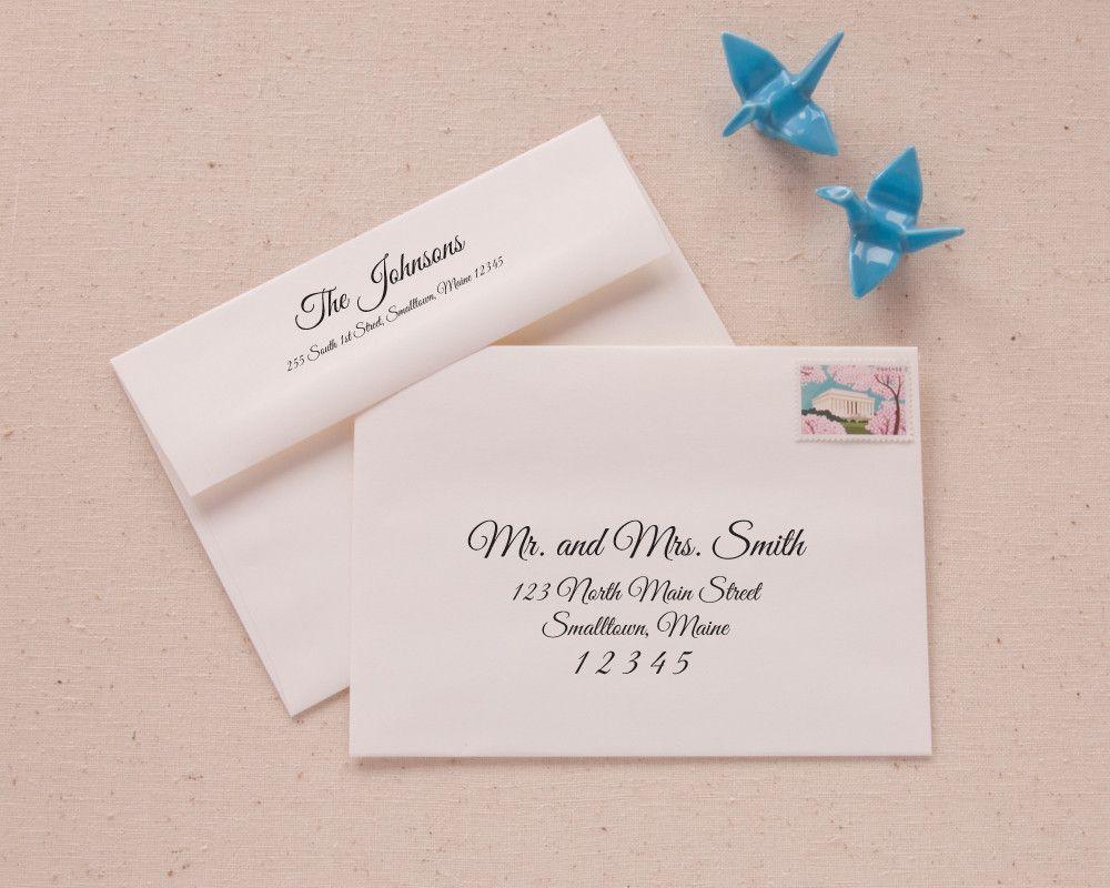 Elegant Script Recipient and Return Address Printable Envelope ...