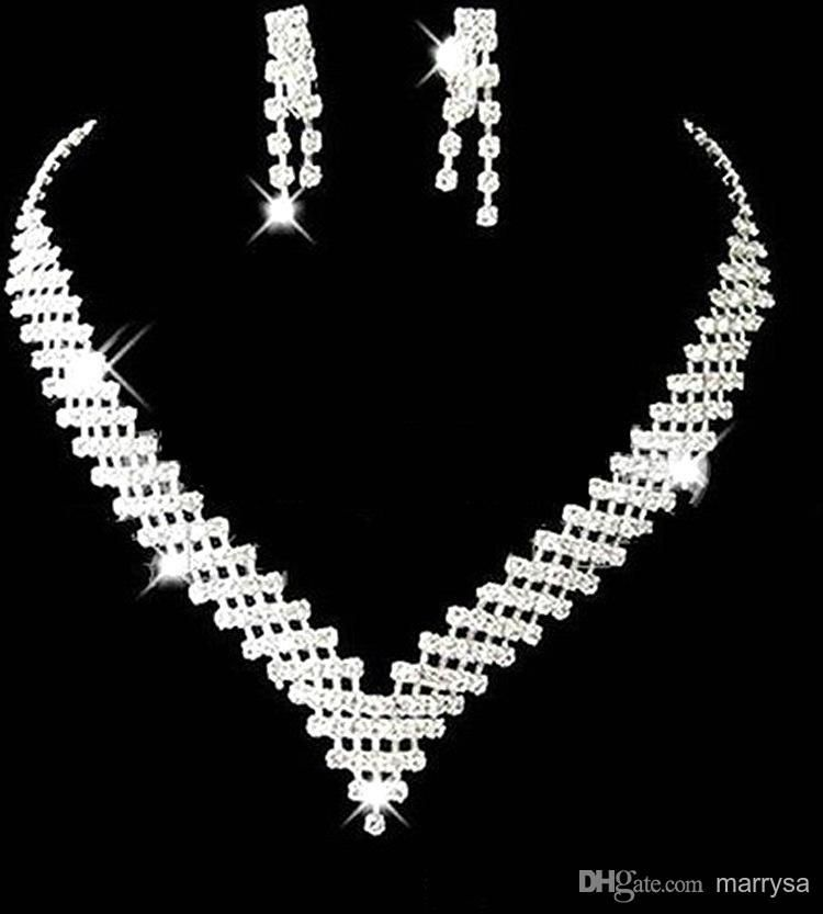 Cheap Wedding Bridal Jewelry Sets Girls Earrings Necklace Crystals