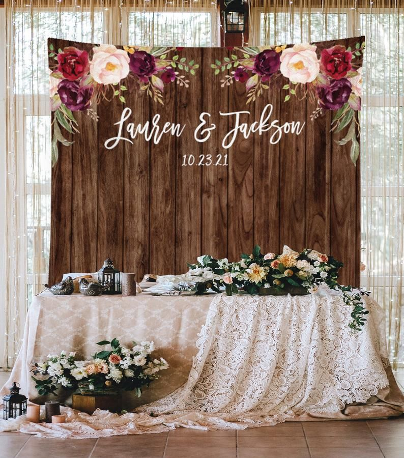 Wedding Backdrop Name Wedding Reception Decorations Boho Fall