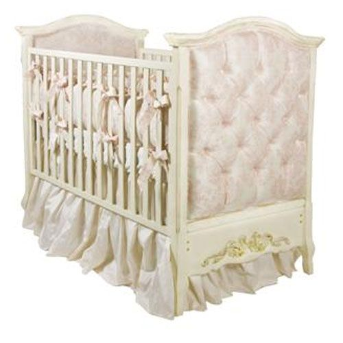 Tufted Upholstered Panel Crib In Pink Damask And Luxury Baby Cribs Furniture All At Poshtots