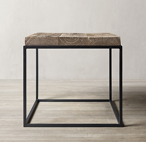 Rigby Reclaimed Rustic Oak Occasional Collection Silverback Oak Rh In 2020 Square Side Table Rug Decor Side Table