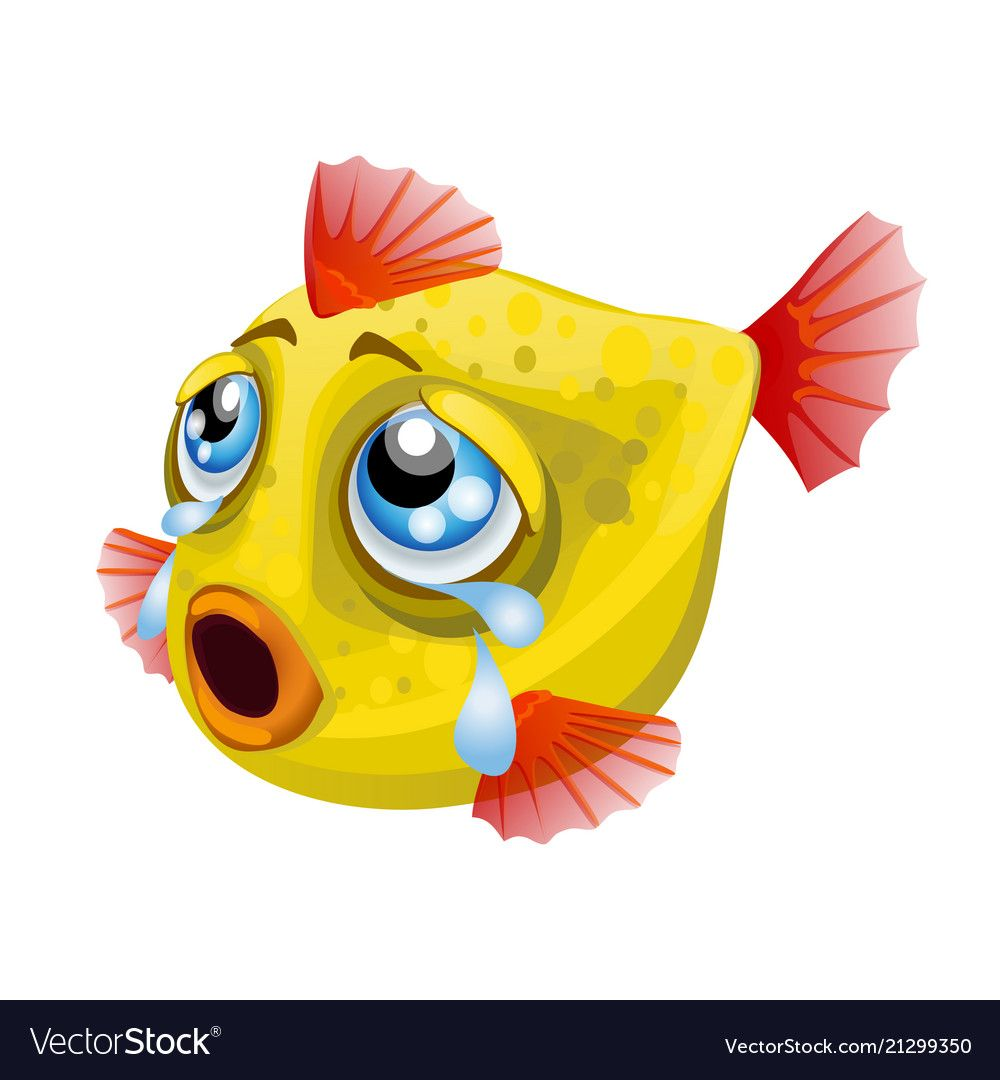 Cartoon Weeping Yellow Fish Isolated On A White Vector Image On Vectorstock In 2020 Yellow Fish Vector Vector Images