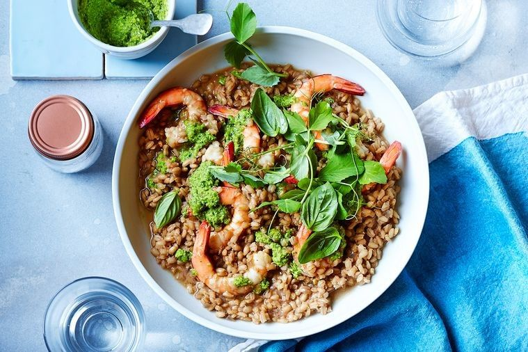 Barley risotto with prawns and pea pesto recipe with