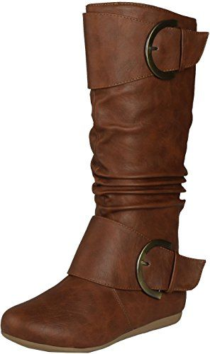 c6f82bcce3e Top Moda Women s Round Toe Slouchy Boot with Buckle     Read more reviews  of the product by visiting the link on the image.
