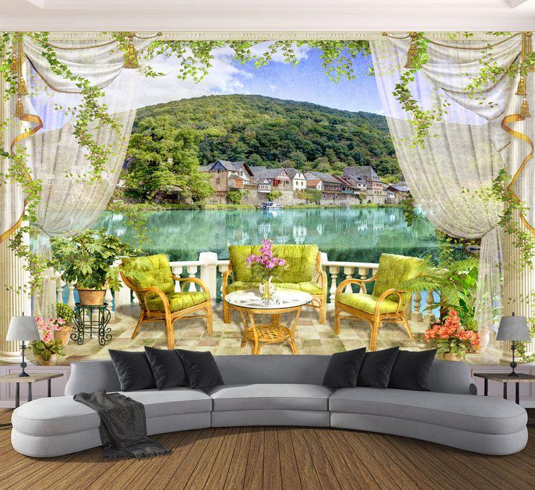 papier peint vintage trompe l 39 il 3d paysage du lac vue. Black Bedroom Furniture Sets. Home Design Ideas