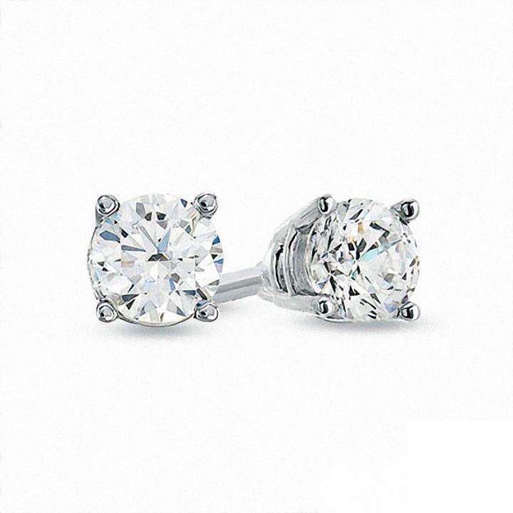 50eeb7668 Zales Celebration GrandA 1/2 CT. T.W. Diamond Solitaire Stud Earrings in  14K White Gold (J-K/SI2-I1)