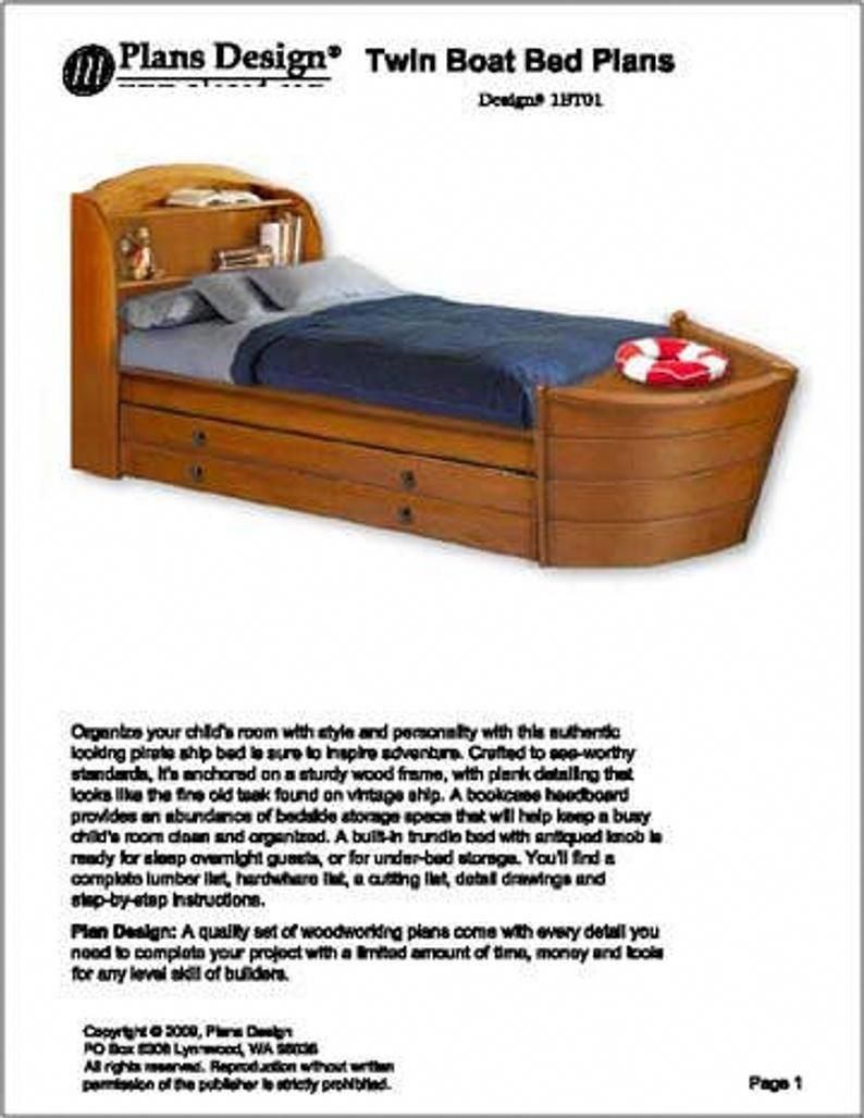 Children S Twin Boat Bed With Trundle Woodworking Plans Etsy Woodworkingfurniturevideos Boat Bed Boat Beds For Kids Bed Plans