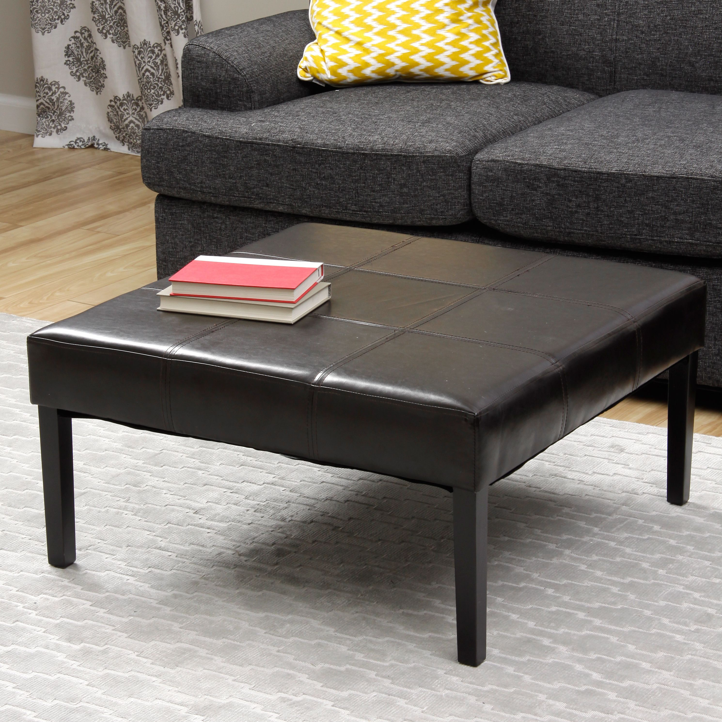 square faux leather coffee table ottoman | coffee table ottoman