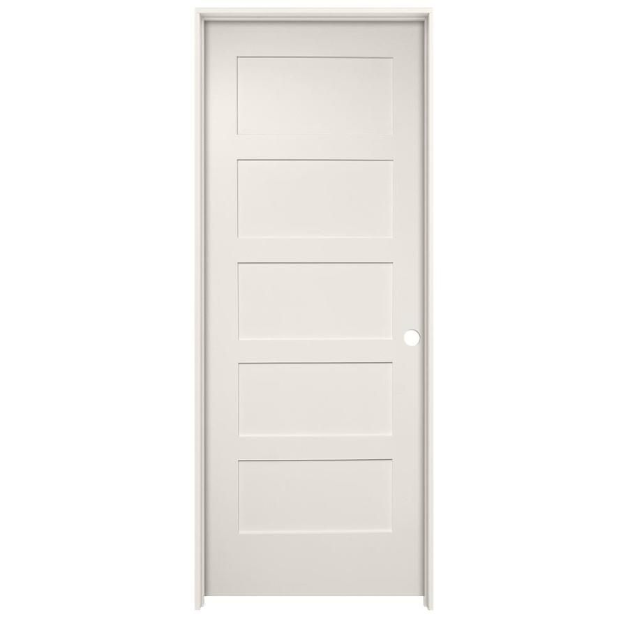 Millennium Collection Ovation Primed 5 Panel Solid Core Mdf Single Pre Hung Door Common 32 In X 80 In Actual 33 Tall Cabinet Storage Locker Storage White Doors