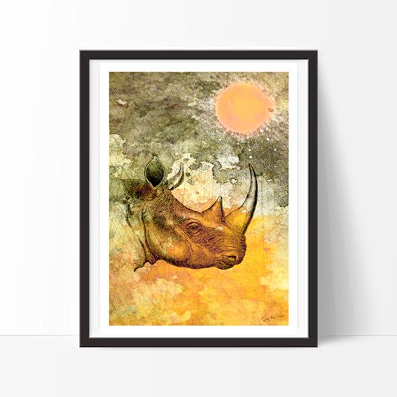 Rhino -Africa, color, animals, Home deco, elegant