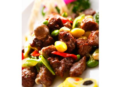 Sautéed diced beef with Lingzhi mushrooms and Osmanthus-flavoured raisins