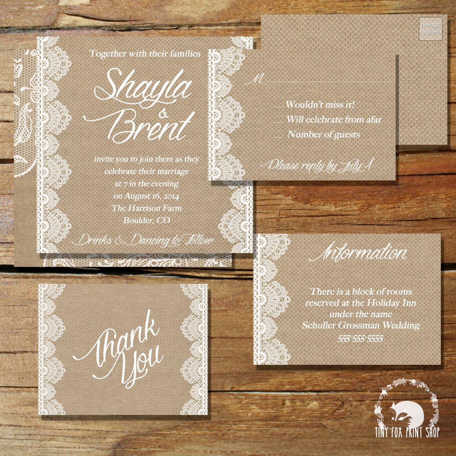 Printable Burlap Lace Wedding Invitation Rsvp By Tinyfoxprintshop