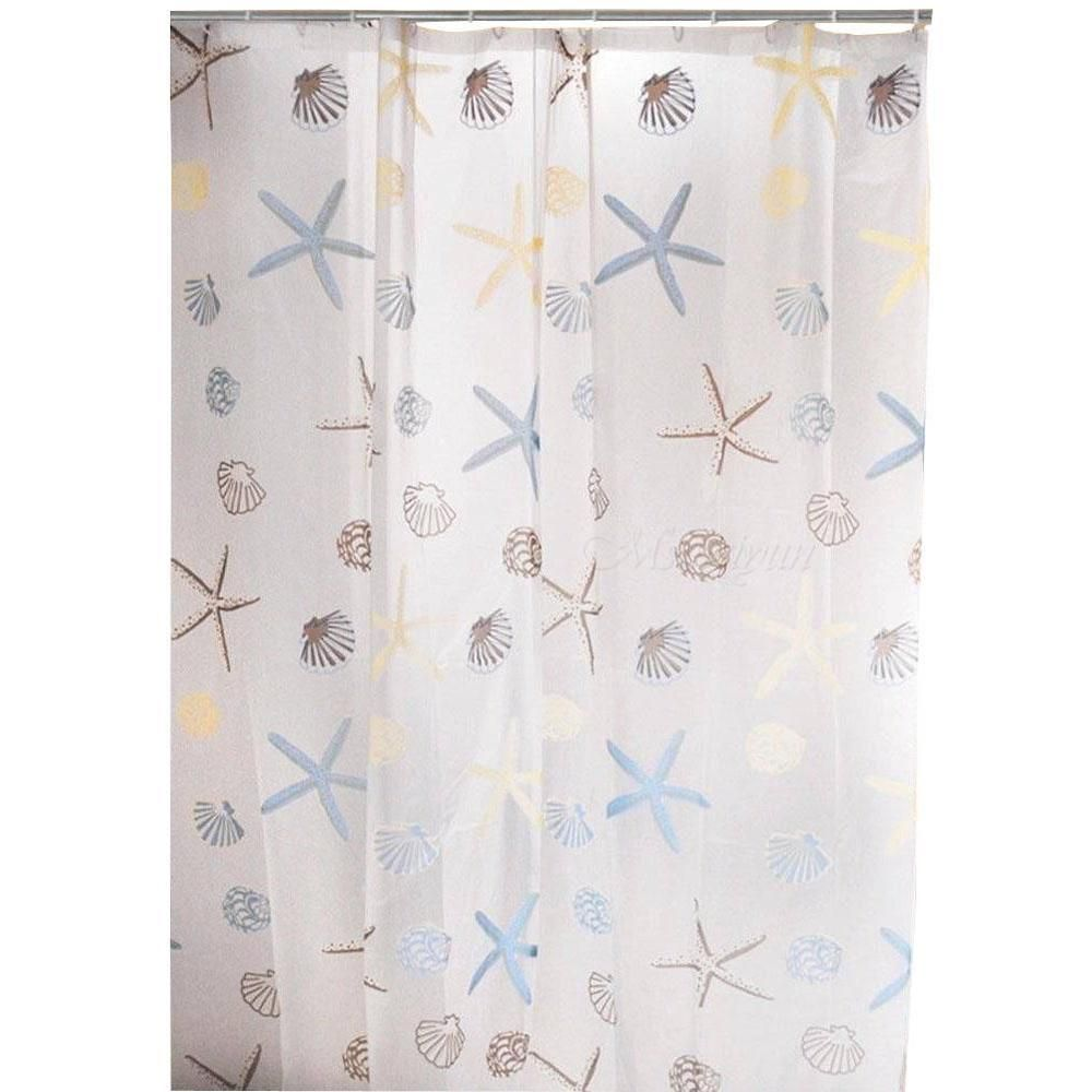 Shower Curtain Liner Seashell Starfish PEVA Hook Ocean Beach Bathroom Decor MSYG