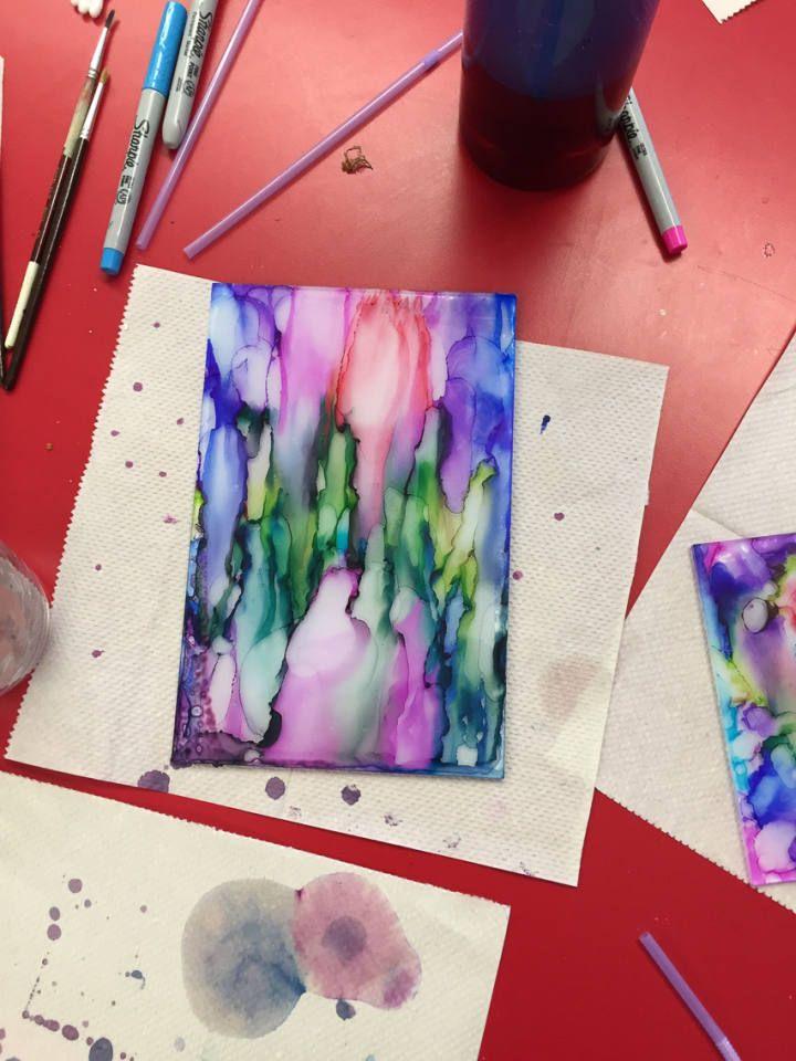 Rubbing Alcohol and ink on Plexiglass | Sharpie art ...