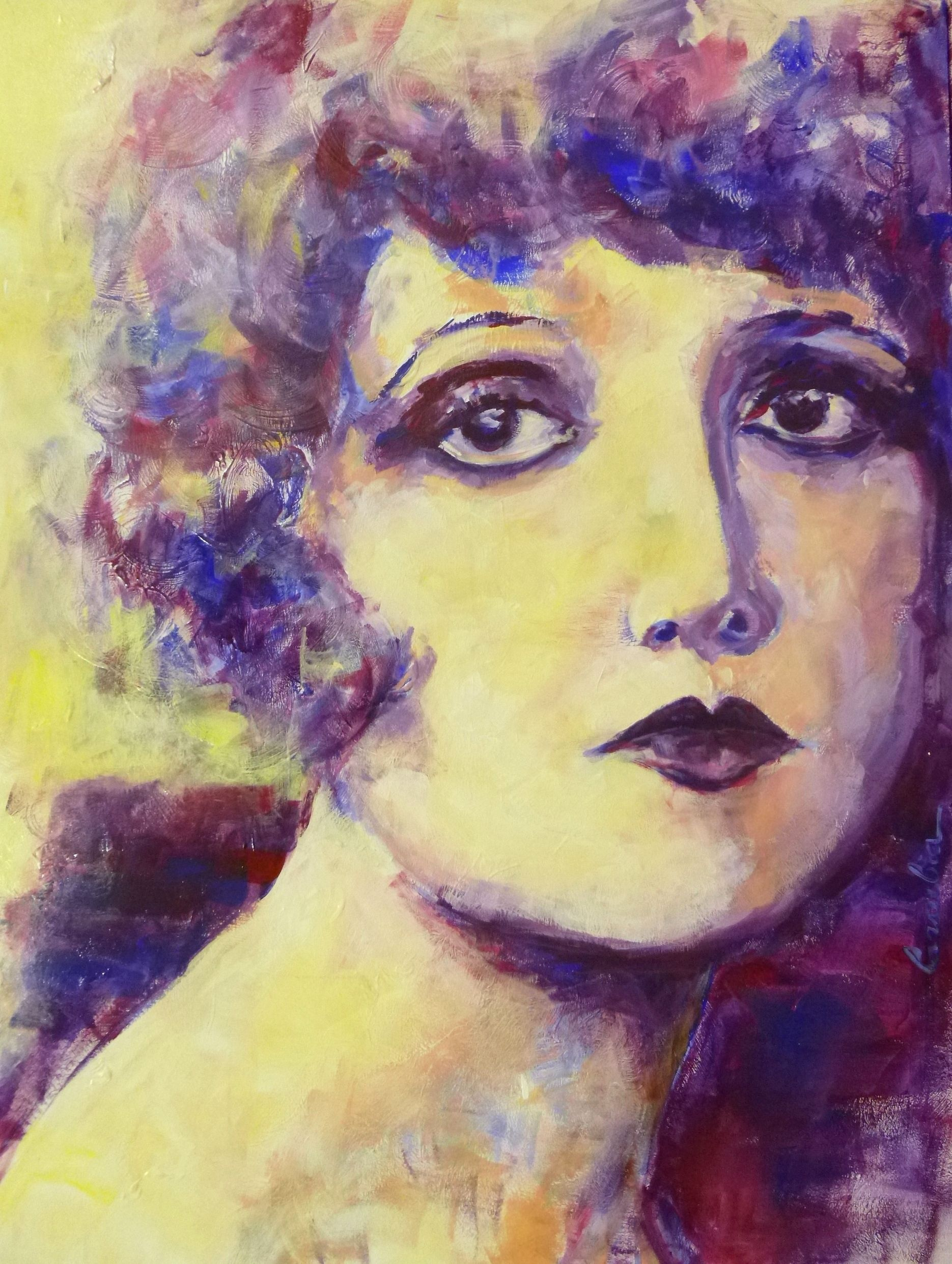 Clara Bow by Angela Larrubia 60x80cm - Acrilyc on panel. 20's