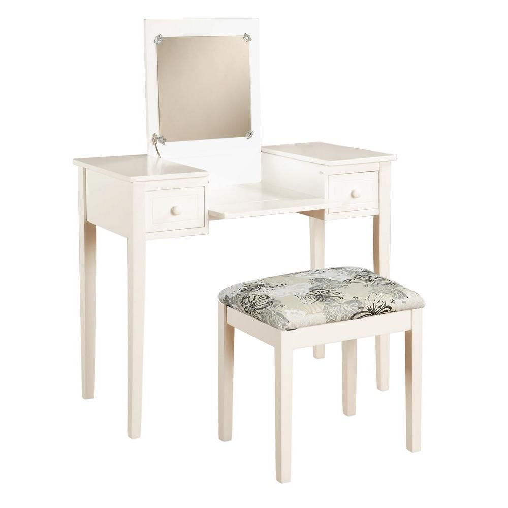 White Bedroom Vanity With Bench 98135whtx 01 Kd U The Home Depot