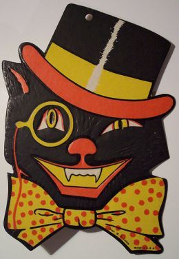 vintage halloween cat with top hat - Old Fashioned Halloween Decorations