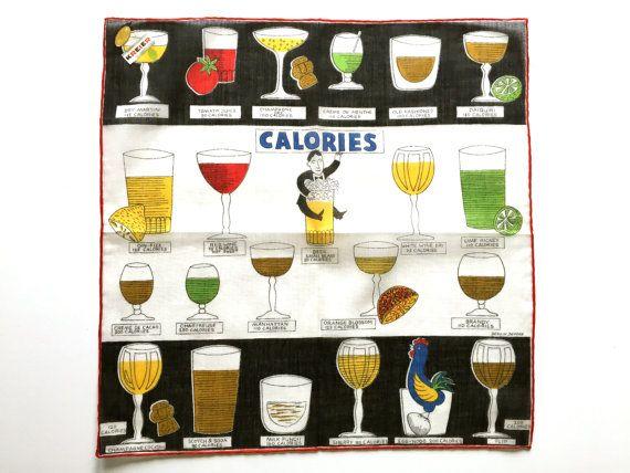 Vintage Handkerchief Cocktail Calories Mixed Drinks Bartender Kreier Dessin Depose