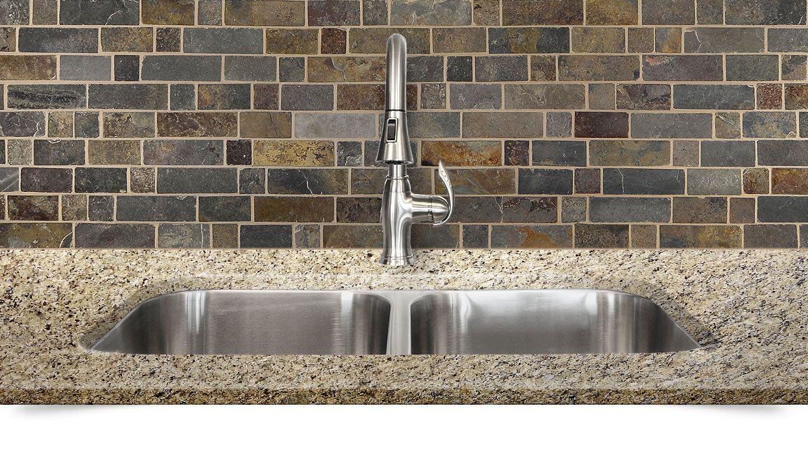 Brown slate rustic kitchen backsplash tile from house ideas pinterest - Backsplash tile rustic ...