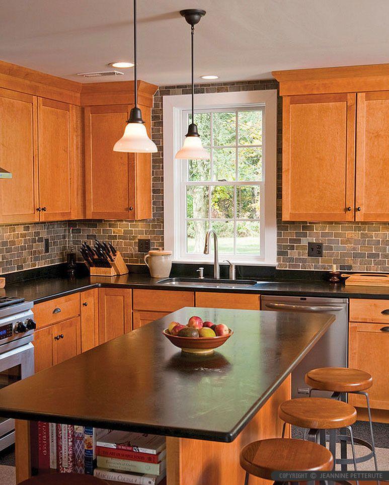 Brown Gray SUBWAY SLATE BACKSPLASH Tile | Black kitchen ... on Best Backsplash For Black Countertops  id=45947