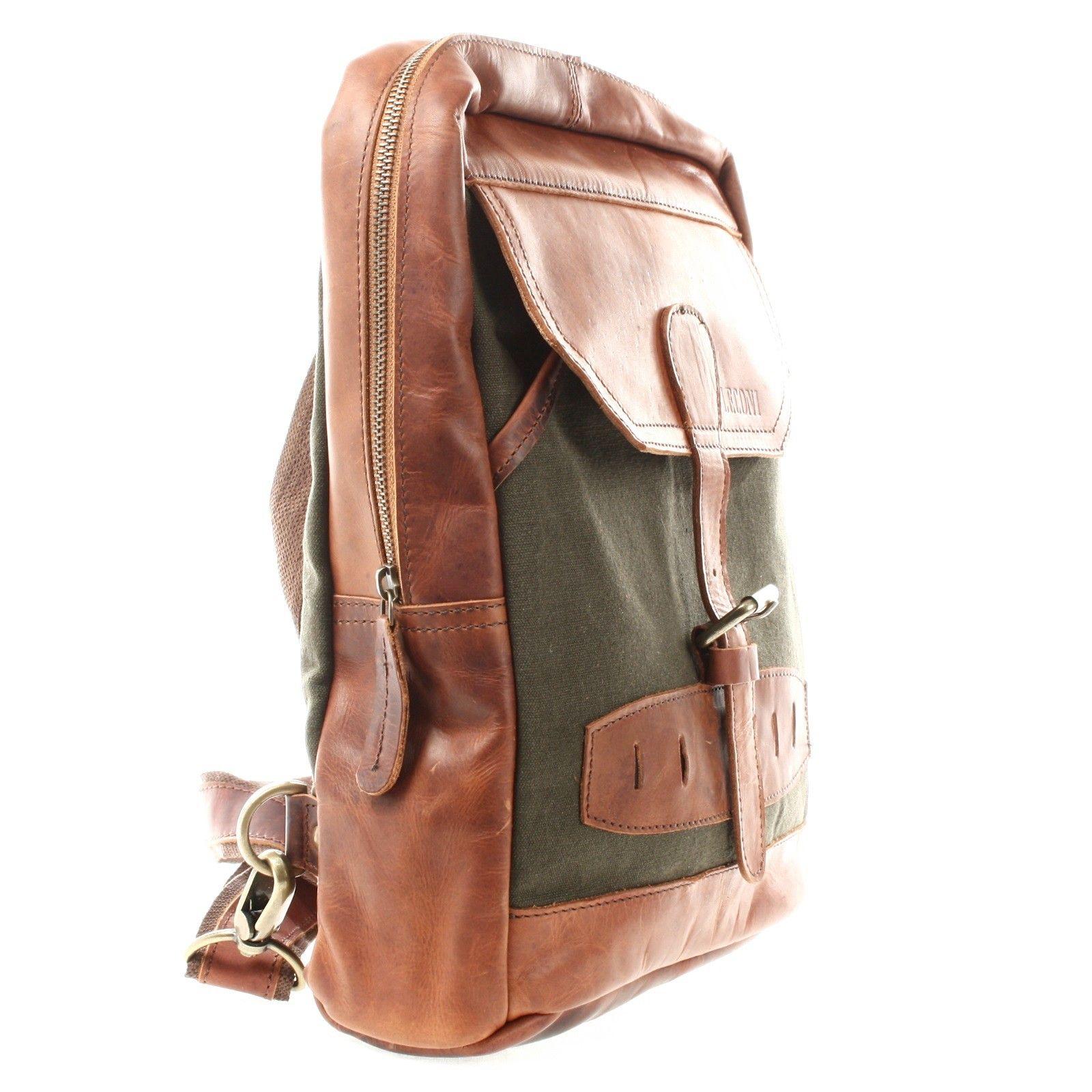 f67a97deb0397 LECONI Freizeitrucksack Crossbag Rucksack Damen Herren Leder Canvas grün  LE1012